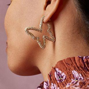butterfly earrings nihaojewelry wholesale fashion diamond-set butterfly large earrings exaggerated large earrings NHLU215321's discount tags