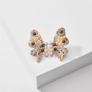 butterfly stud earrings nihaojewelry wholesale fashion summer pearl rhinestone butterfly wings exaggerated large earrings ladies earrings NHLU215322's discount tags