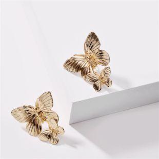 fashion animal earrings alloy butterfly earrings nihaojewelry wholesale metal big butterfly wings exaggerated big earrings earrings NHLU215325's discount tags