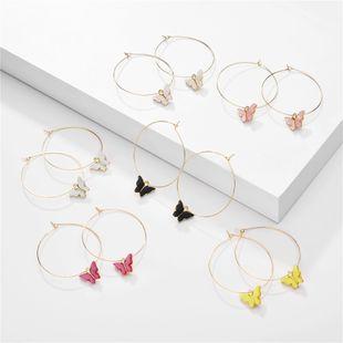 moda mariposa pendientes nihaojewelry venta al por mayor verano color caramelo acrílico mariposa colgante geométrico aro pendientes NHLU215327's discount tags