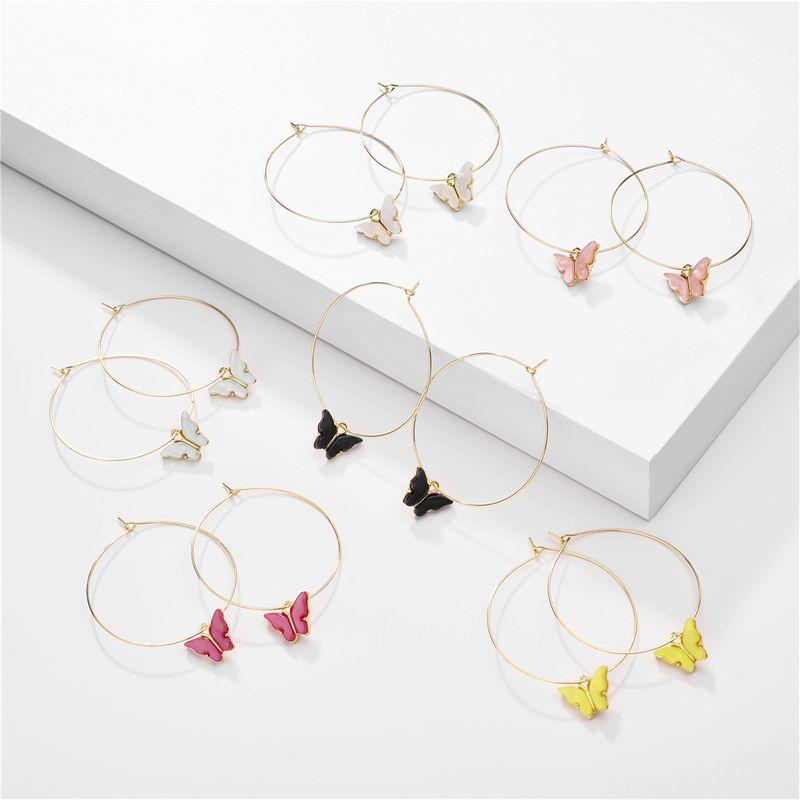 fashion butterfly earrings nihaojewelry wholesale summer candy color acrylic butterfly pendant geometric hoop earrings NHLU215327