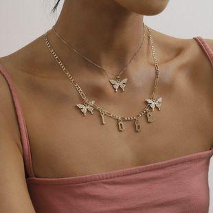 fashion  wild short LOVE letter item feminine multi-butterfly tassel suit  copper  alloy necklace nihaojewelry wholesale NHXR215337's discount tags