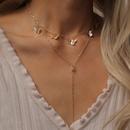 fashion  simple temperament rhinestone geometric necklace female butterfly Yshaped tassel pendant double necklace nihaojewelry wholesale NHXR215340