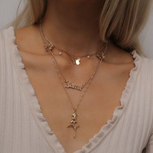 fashion simple  flower hollow letter necklace retro mix and match rose small butterfly necklace set nihaojewelry wholesale NHXR215341's discount tags