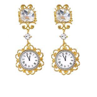 new wave personality wild retro antique clock time earrings rhinestone pendant earrings nihaojewelry wholesale NHNT215349's discount tags