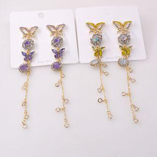 summer new  color butterfly tassel crystal earrings nihaojewelry wholesale new earrings silver needle earrings women NHNT215352's discount tags
