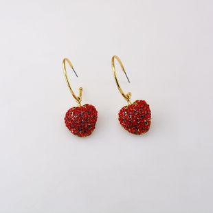Cute strawberry diamond earrings nihaojewelry wholesale rhinestones Korean sweet earring simple fruit earrings women NHNT215353's discount tags