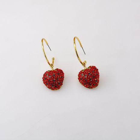 Mignon fraise diamant boucles d'oreilles nihaojewelry gros strass coréen doux boucle d'oreille simple fruits boucles d'oreilles femmes NHNT215353's discount tags