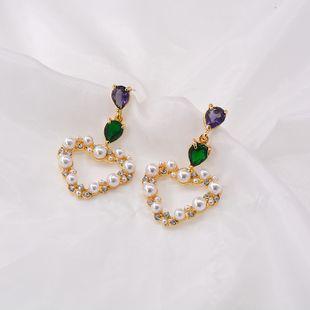 925 silver diamond earrings nihaojewelry wholesale sweet girl flowers diamond earrings heart-shaped earrings  NHNT215355's discount tags