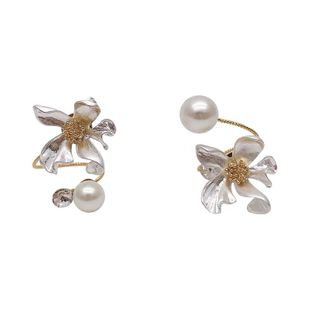 Korean animal earrings pearl ear clips nihaojewelry wholesale fashion pearl earrings flowers daisy earrings women NHNT215356's discount tags