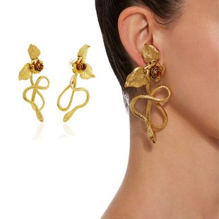 New Baroque retro snake-shaped earrings rose pendant long earrings nihaojewelry wholesale NHNT215358's discount tags