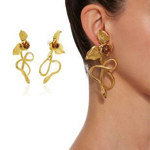 Nuevo barroco retro pendientes en forma de serpiente rosa colgante pendientes largos nihaojewelry al por mayor NHNT215358's discount tags