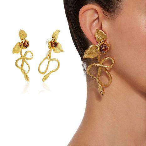 New Baroque retro snake-shaped earrings rose pendant long earrings nihaojewelry wholesale NHNT215358's discount tags