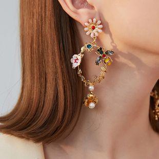 fashion girls heart oil drop flower earrings acrylic diamond bee metal texture silver needle hypoallergenic earrings NHNT215359's discount tags
