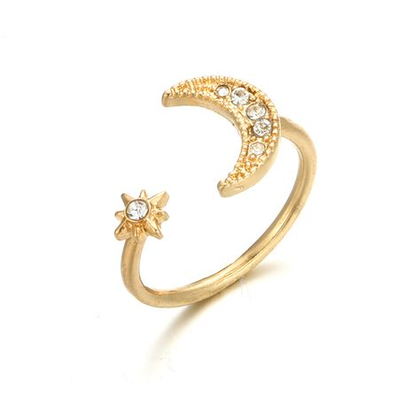 Star Moon Stacked Ring women Fashion Korea Diamond Jointed Ring Alloy Open Ring Nihaojewelry Wholesale NHGY215387's discount tags