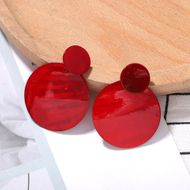 retro red disc resin earringsnihaojewelry wholesale Korean women's resin geometric earrings  NHJQ215392