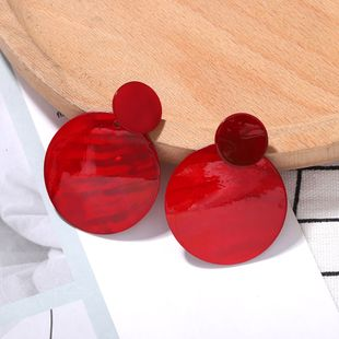 retro red disc resin earringsnihaojewelry wholesale Korean women's resin geometric earrings  NHJQ215392's discount tags