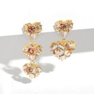 hot Korean heart earrings fashion asymmetric diamond earrings women earrings nihaojewelry wholesale NHJQ215393's discount tags