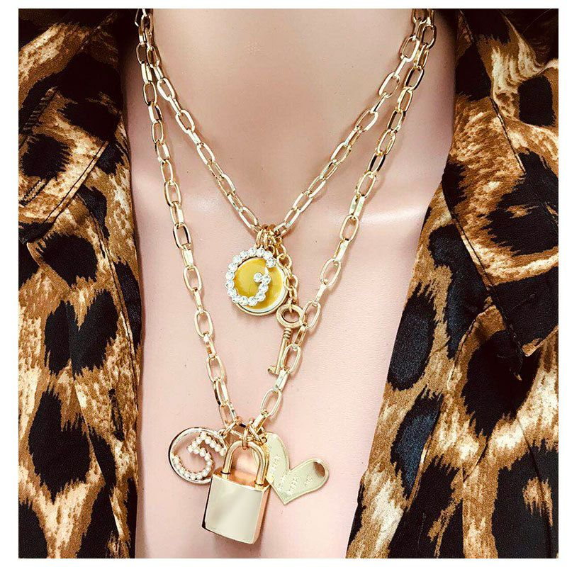 fashion new  DIY necklace fashion wild multi-layer metal chain lock necklace nihaojewelry wholesale NHCT215396