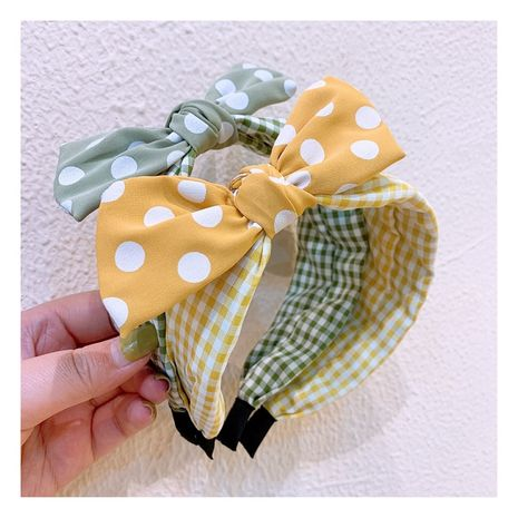 retro polka dot wide-brimmed bow rabbit ears ever-changing headband non-slip lattice hairpin decoration nihaojewelry wholesale NHHD215402's discount tags