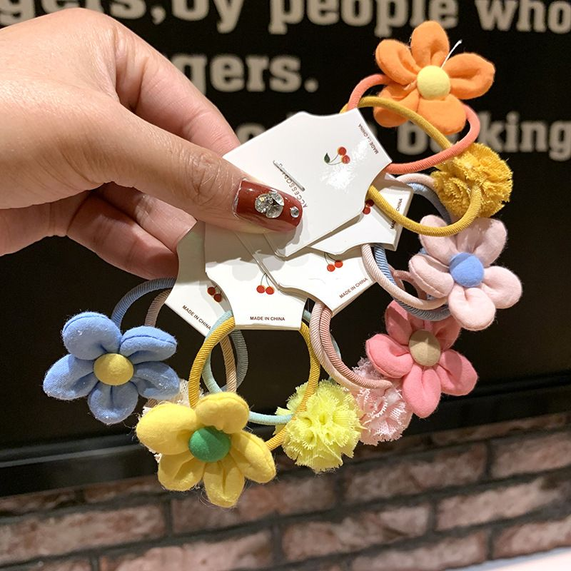 Korean girl heart  flower hair rope candy color lace ball little girl student tie hair head rope hair scrunchies  NHSA215425