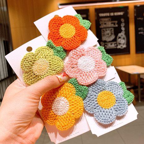 Korean wool flower edge clip children's small fresh cute little daisy hairpin baby clip princess bangs clip NHSA215426's discount tags