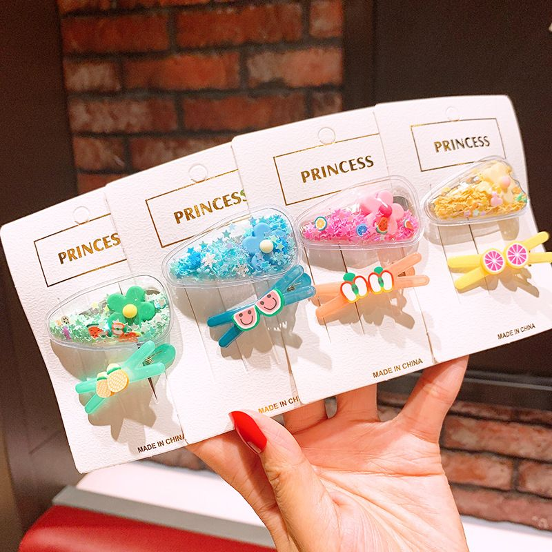 Korea color hair clips quicksand flowers children's fruit hairpin cute hairpin baby bb clip side clip headdress NHSA215428