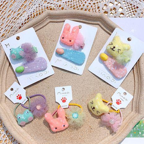 Korean children's cartoon rabbit hair clip cute baby bear hair ring sequins water drop BB clip girl yarn flower head rope NHSA215429's discount tags
