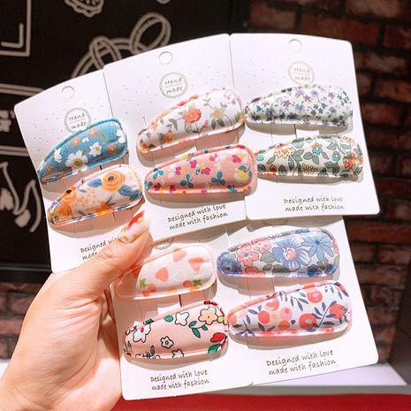 Accesorios para el cabello coreano flores clip de pelo de cuero brillante niños niña corazón flor rota BB clip clip de flequillo de padres e hijos NHSA215431's discount tags