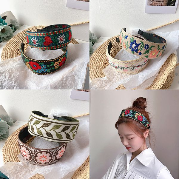 Korean new fashion  embroidery ethnic style wild hair band head buckle hairpin nihaojewelry wholesale NHHI215435