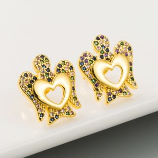new fashion  creative hollow hollow crown earrings female micro-set color zircon copper earrings wholesale NHLN215437's discount tags