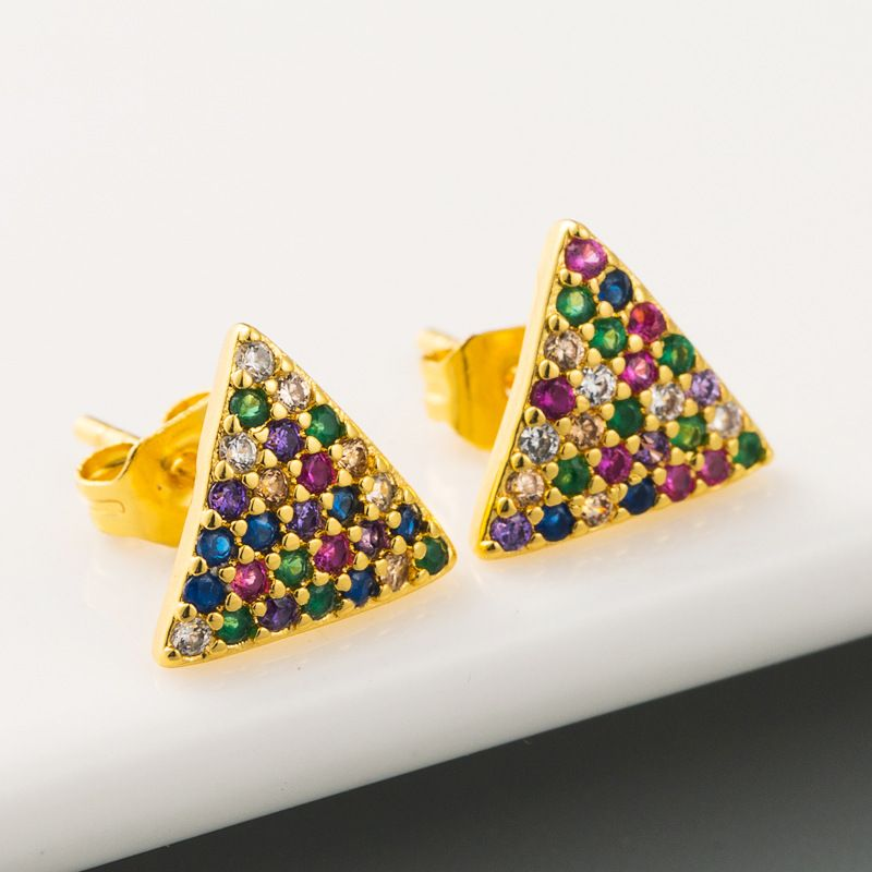 fashion new  simple geometric triangle earrings female hip hop style copper micro-set color zircon earrings nihaojewelry wholesale NHLN215438