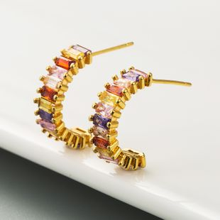 Moda nuevos pendientes de arco iris hembra de latón en forma de C micro incrustaciones de circón moda salvaje coreana pendientes de alta calidad nihaojewelry al por mayor NHLN215439's discount tags
