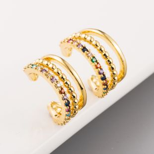 fashion new C-shaped earless ear clips copper plated 18K gold rainbow zircon series ear bone clips NHLN215440's discount tags