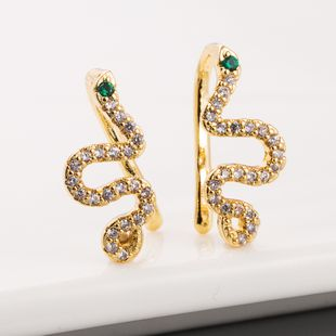 fashion  new  creative snake-shaped earrings female copper micro-set zircon  personality exaggerated gold earrings nihaojewelry wholesale NHLN215442's discount tags