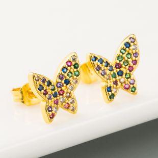 Nueva moda creativa mariposa pendientes mujer micro-set color circón latón genuino pendientes chapados en oro nihaojewelry al por mayor NHLN215443's discount tags