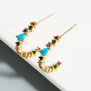 new fashion  trend earrings rainbow series earrings  zircon C-shaped Korean fashion earrings nihaojewelry wholesale NHLN215444's discount tags
