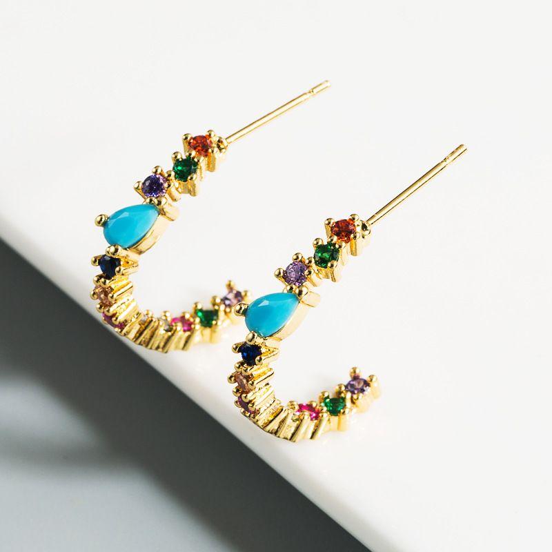 new fashion  trend earrings rainbow series earrings  zircon C-shaped Korean fashion earrings nihaojewelry wholesale NHLN215444