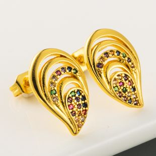 fashion  new hollow hollow earrings brass micro color inlaid zircon earrings  plated true gold earrings nihaojewelry wholesale NHLN215445's discount tags