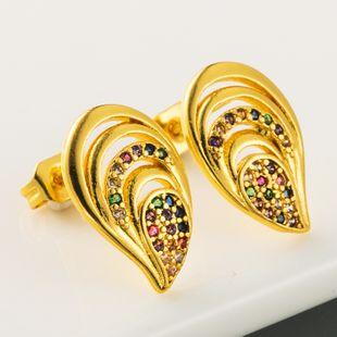 Moda nuevos huecos huecos pendientes de latón micro color con incrustaciones de circón pendientes plateados pendientes de oro verdadero nihaojewelry al por mayor NHLN215445's discount tags
