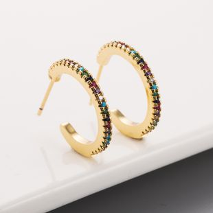 fashion new  C-shaped copper plated 18K gold inlaid color zircon  creative  copper earrings nihaojewelry wholesale NHLN215447's discount tags