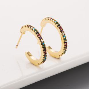 Moda nueva en forma de C chapado en cobre 18K oro con incrustaciones de circón color creativo pendientes de cobre nihaojewelry al por mayor NHLN215447's discount tags