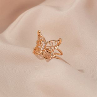 Fashion animal rings women exaggerated hollow butterfly ring fashion light luxury open ring nihaojewelry wholesale NHDP215299's discount tags
