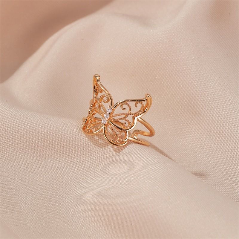 Fashion animal rings women exaggerated hollow butterfly ring fashion light luxury open ring nihaojewelry wholesale NHDP215299