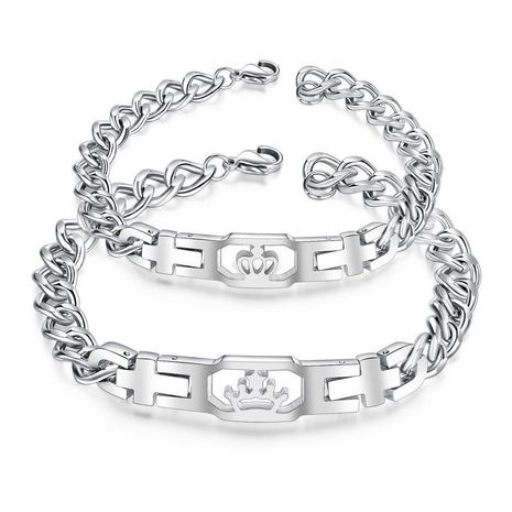 hot-sale stainless steel new simple hollow crown titanium steel couple bracelet nihaojewelry wholesale NHOP215281's discount tags