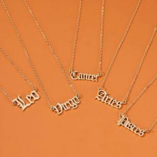 new hot selling jewelry personality creative twelve constellation necklace retro English alphabet pendant clavicle chain NHDP215304's discount tags