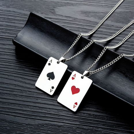 titanium steel men's necklace  hip-hop hipster spades A men and women necklace personalized playing card pendant NHOP215284's discount tags