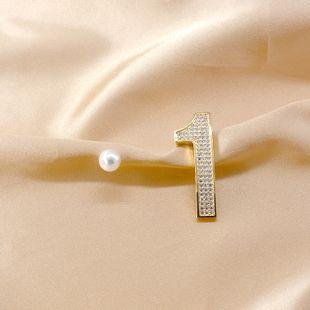 925 silver zircon micro-inlay number 1 earrings women nihaojewelry wholesalediamond asymmetric earrings pearl earrings  NHNT215351's discount tags