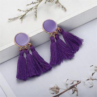 Boucles d'oreilles pompon longues goutte NHPF145175