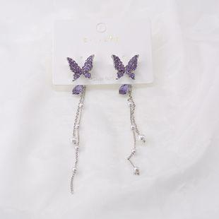 Butterfly Pearl Earrings Long Tassel Personalized Color Diamond Silver Pin Earrings Elegant Earrings Cold Wind Wild Earrings NHNT215357's discount tags